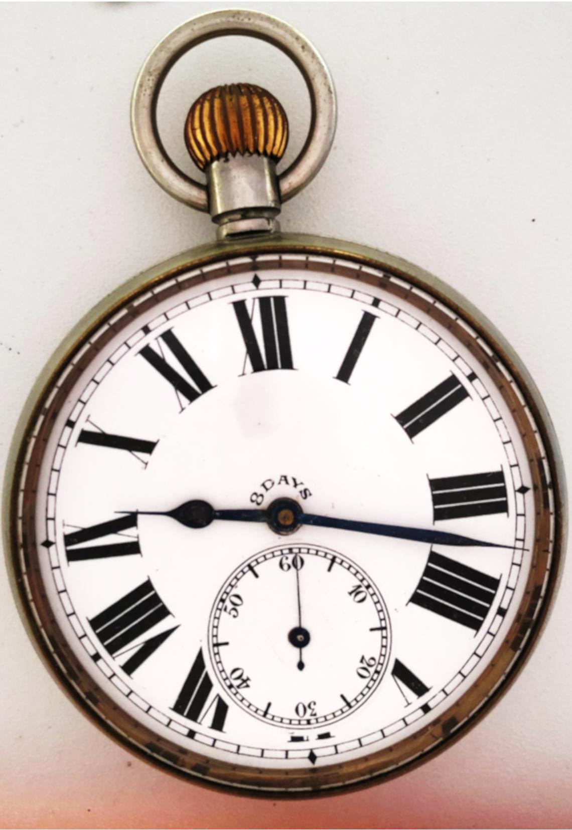 Reloj inusual estilo lepine de viaje, ocho días cuerda, de gran ...