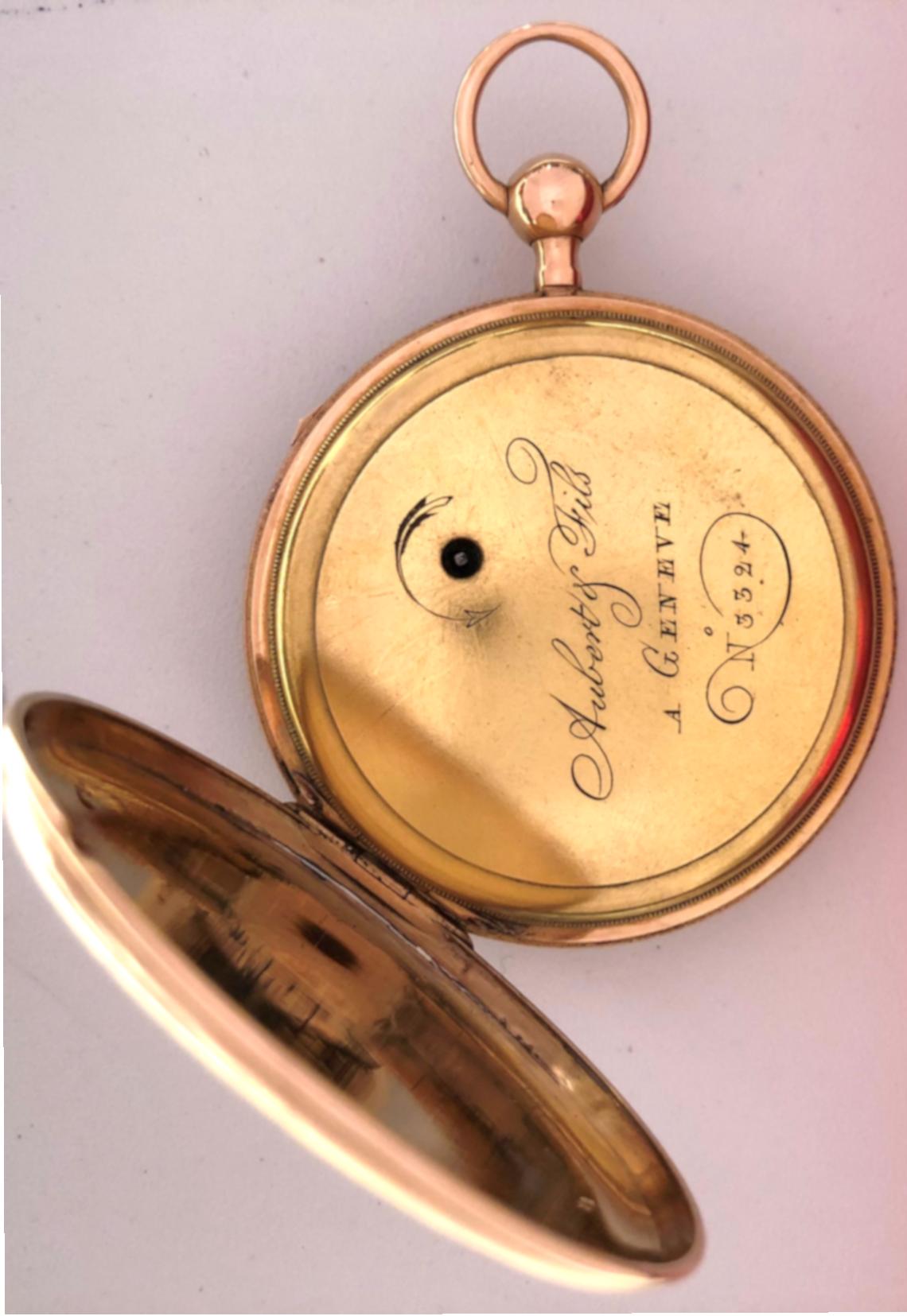 f9fe7b946 Reloj de bolsillo de los maestros relojeros AUBERT & FILS À GÉNÉVE ...