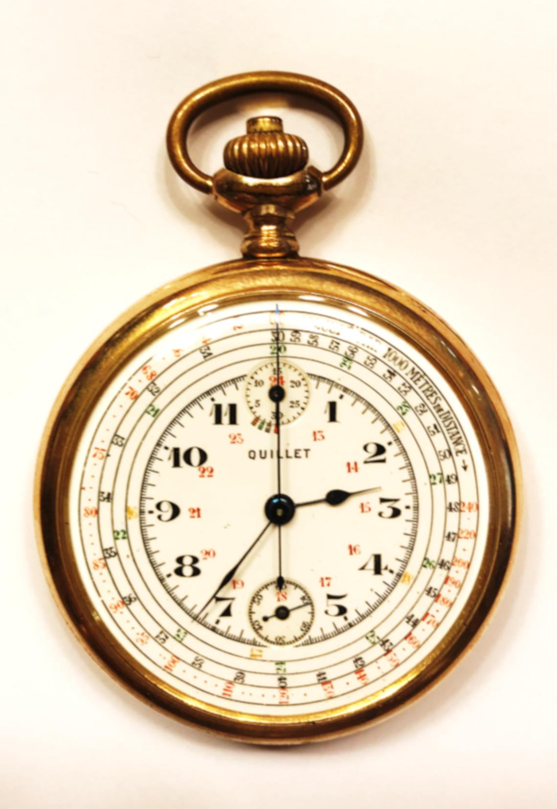 Reloj de bolsillo Lepine taquímetro, cronómetro y cronógrafo