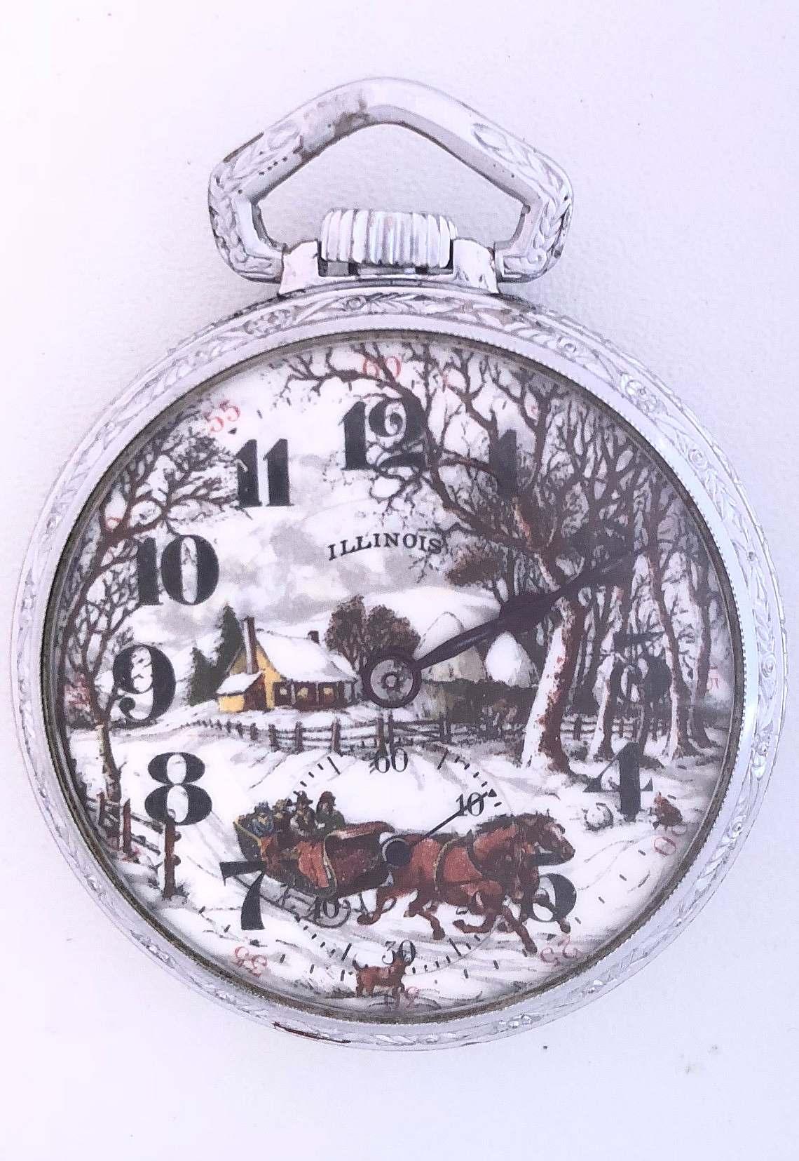 77b23d785 Reloj lepine de la firma americana ILLINOIS WATCH Co. con esfera en  multitud de esmaltes ilustrando un paisaje rural de invierno.